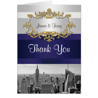 NYC Skyline BW 05 White Navy Blue Thank You Stationery Note Card