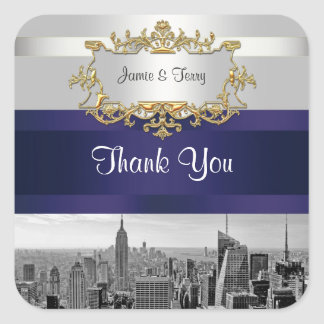 NYC Skyline BW 05 White Navy Invit Suite Thank You Square Sticker