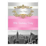 NYC Skyline BW 05 White, Pink Birthday Invite