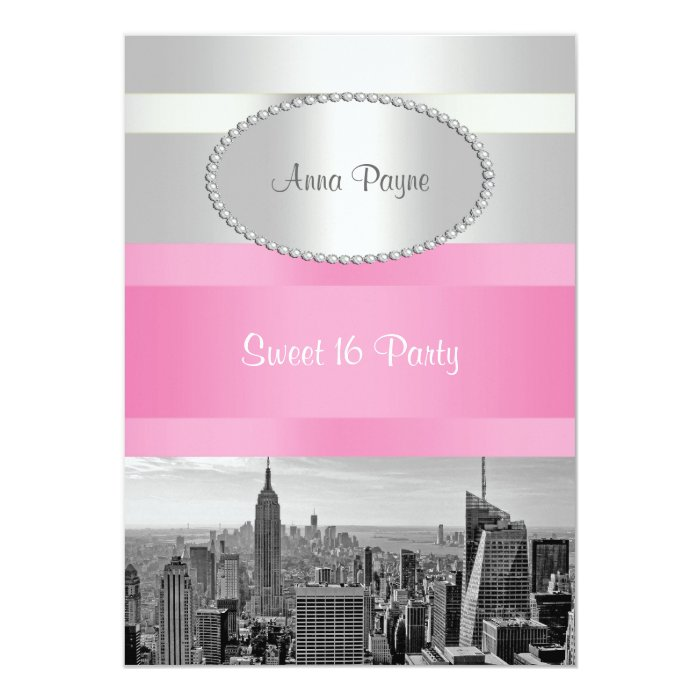 NYC Skyline BW 05 White, Pink Sweet 16 Party Card