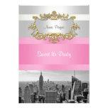 NYC Skyline BW 05 White, Pink Sweet 16 Party Custom Invitations