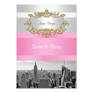 NYC Skyline BW 05 White, Pink Sweet 16 Party 5x7 Paper Invitation Card