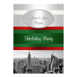 NYC Skyline BW 05 White, Red Green Christmas Invites