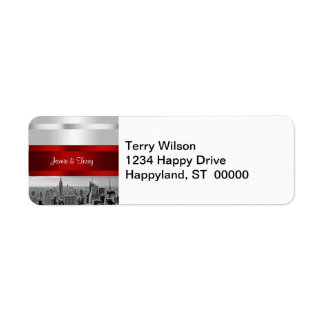 NYC Skyline BW 05 White Red Invite Suite Label
