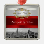 NYC Skyline BW 05 White Red Invite Suite Metal Ornament