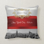 NYC Skyline BW 05 White Red Invite Suite Throw Pillows