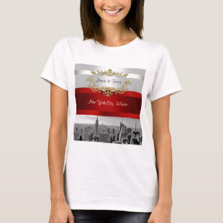 NYC Skyline BW 05 White Red Invite Suite T-Shirt