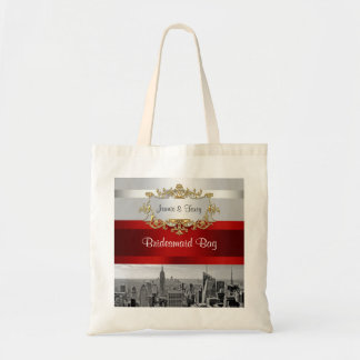 NYC Skyline BW 05 White Red Invite Suite Tote Bag