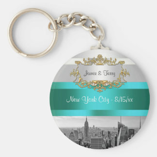 NYC Skyline BW 05 White Teal Invite Suite Keychain