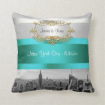 NYC Skyline BW 05 White Teal Invite Suite Throw Pillows