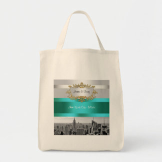 NYC Skyline BW 05 White Teal Invite Suite Tote Bag