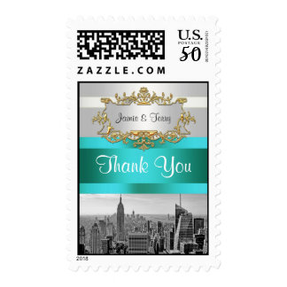 NYC Skyline BW 05 White Teal Thank You Postage