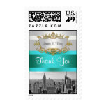 NYC Skyline BW 05 White Teal Thank You Stamp