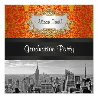 NYC Skyline Bw 111 Red Gold Paisley Graduation Pty Custom Invites