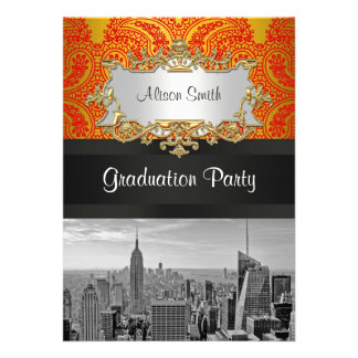 NYC Skyline Bw 111 Red Gold Paisley Graduation Pty Announcement