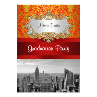 NYC Skyline Bw 112 Red Gold Paisley Graduation Pty Personalized Invitations