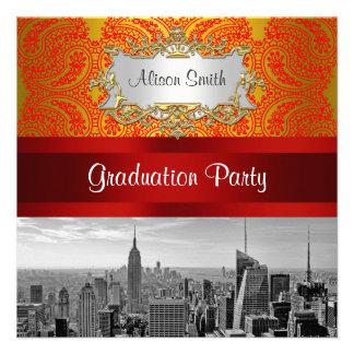 NYC Skyline Bw 112 Red Gold Paisley Graduation Pty Custom Invitations