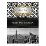 NYC Skyline BW 431 Damask  Save the Date Postcard