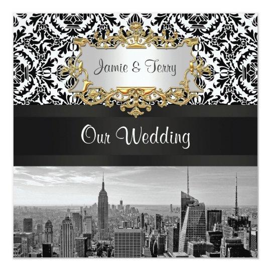 NYC Skyline BW 431 Damask Wedding Invitation