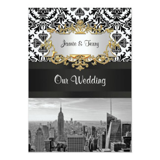 NYC Skyline BW 431 Damask Wedding Invitation V