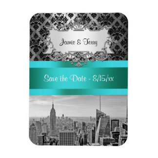 NYC Skyline BW B3 Damask F2 - Save the Date Magnet Rectangular Photo Magnet