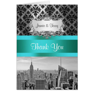 NYC Skyline Bw B3 Damask F2 Thank You Note Cards