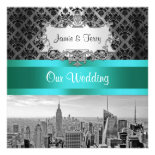 NYC Skyline BW B3 Damask Wedding Invitation F2