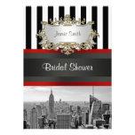 NYC Skyline BW Black White Stripe 2 Bridal Shower Custom Invitations