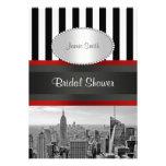 NYC Skyline BW Black White Stripe 2P Bridal Shower Custom Invitation