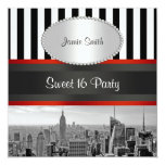 NYC Skyline BW Black White Stripe P Sweet 16 Party Personalized Invitations