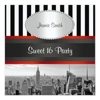 NYC Skyline BW Black White Stripe P Sweet 16 Party Personalized Invitations