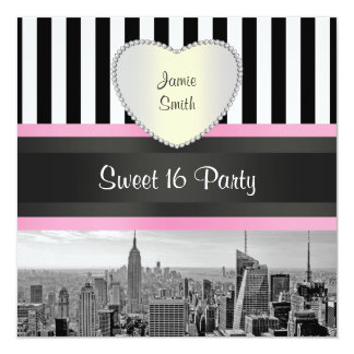 NYC Skyline BW Blk Wht Strp Pink H Sweet 16 Party 5.25x5.25 Square Paper Invitation Card