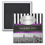 NYC Skyline BW Blk Wht Strp Purple P Save Date 2 Inch Square Magnet