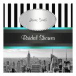 NYC Skyline BW Blk Wht Strp Teal P Bridal Shower Custom Invite