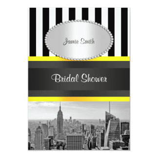 NYC Skyline BW Blk Wht Strp Yellow P Bridal Shower Card