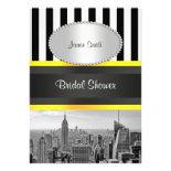 NYC Skyline BW Blk Wht Strp Yellow P Bridal Shower Custom Invites