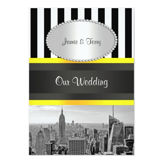 NYC Skyline BW Blk Wht Strp Ylo P Wedding Invite