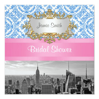 "NYC Skyline BW D42 Damask  Bridal Shower Invite 5.25"" Square Invitation Card"