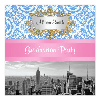 "NYC Skyline Bw D42 Damask Graduation Party Invite 5.25"" Square Invitation Card"