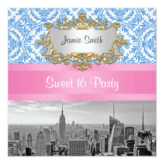 NYC Skyline BW D42 Damask - Sweet 16 Party Invite