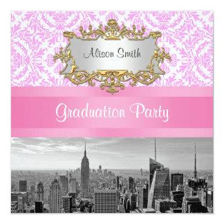 NYC Skyline BW D42P Pink Damask Graduation Party Card