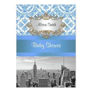 NYC Skyline BW D4 Damask Baby Shower Invite V