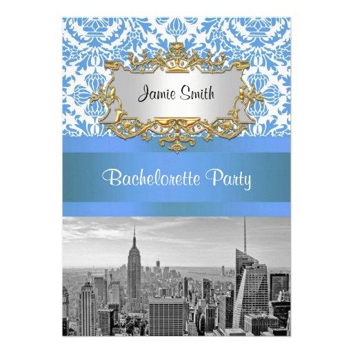 NYC Skyline BW D4 Damask Bachelorette Party V Invitation