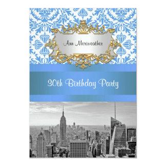 NYC Skyline BW D4 Damask Birthday Party V 5x7 Paper Invitation Card