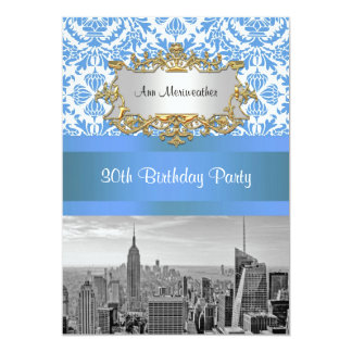 NYC Skyline BW D4 Damask Birthday Party V Card