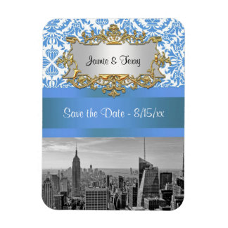 NYC Skyline BW D4 Damask Save the Date Magnet Rectangular Photo Magnet