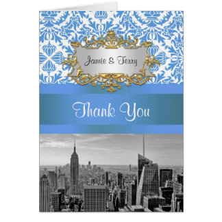 NYC Skyline Bw D4 Damask Thank You Note Stationery Note Card