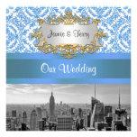 NYC Skyline BW D4 Damask Wedding Invitation