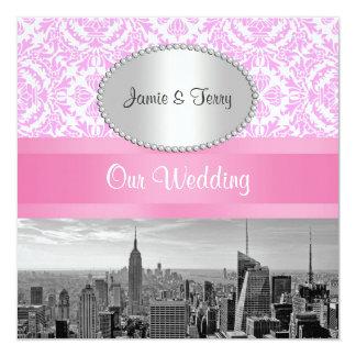 NYC Skyline BW D4P2 Pink Damask Wedding Invitation
