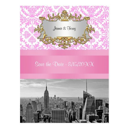 NYC Skyline BW D4P Pink Damask  Save the Date Postcard